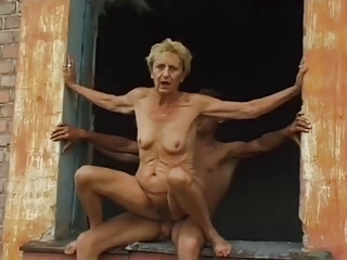 Skinny Hardcore Outdoor Granny Young Old And Young Outdoor