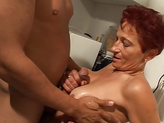 German Redhead Handjob Aunt European German