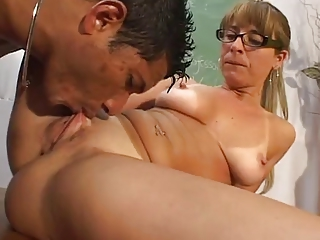 Close up Pussy Shaved Ass Licking Glasses Mature Licking Shaved