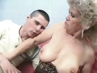 Experimenting old lady fucks young male s ass with red strap on