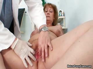 Chubby old grandma gets her hairy pussy part