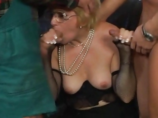Blonde milf threesome
